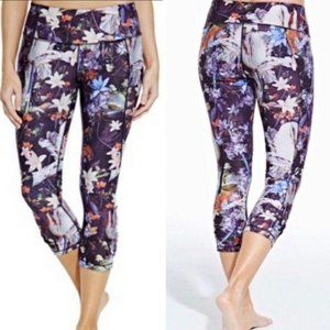 Calia Ruched Floral Cropped Leggings Workout Black
